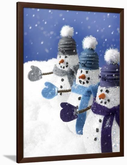 Snowmen in a Row-Gaetano-Framed Premium Photographic Print