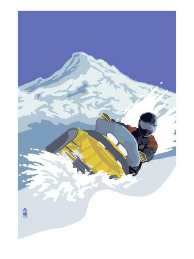 Snowmobile-Lantern Press-Art Print