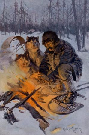Snowshoe Traveler and His Arctic Dog-Team at a Campfire