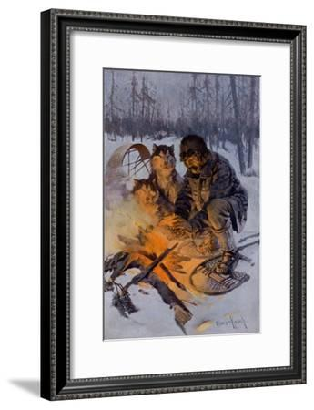 Snowshoe Traveler and His Arctic Dog-Team at a Campfire--Framed Giclee Print