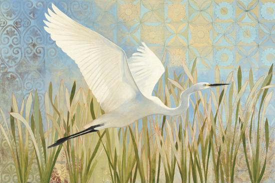 Snowy Egret in Flight v2--Art Print