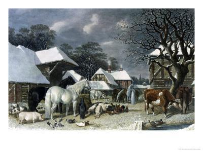 Snowy Farmyard-John Frederick Herring I-Giclee Print