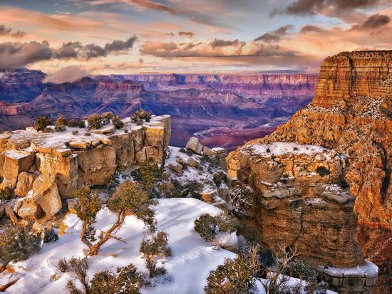 Snowy Grand Canyon V-David Drost-Photographic Print