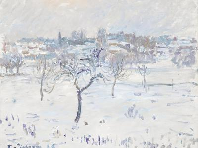 Snowy Landscape at Eragny with an Apple Tree, 1895-Camille Pissarro-Giclee Print