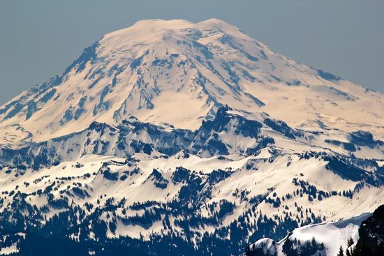 Snowy Mount Saint Adams Mountain Glacier from Crystal Mountain-William Perry-Photographic Print