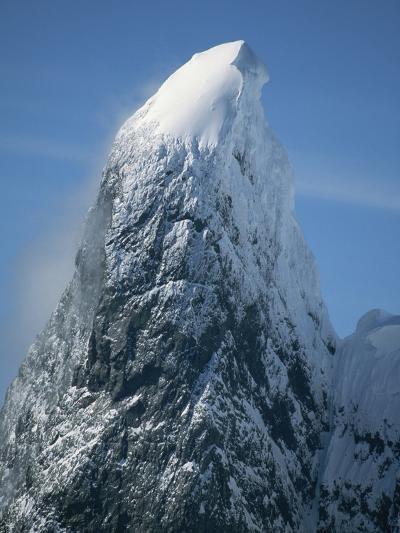 Snowy Peak on Antarctic Coast-George Lepp-Photographic Print