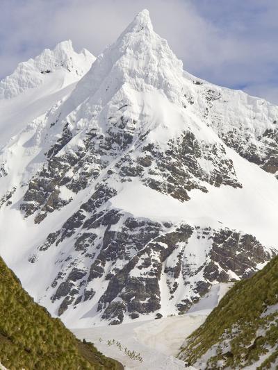 Snowy Peak Towering over King Penguins and Fur Seals-John Eastcott & Yva Momatiuk-Photographic Print