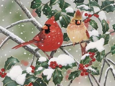 Snowy Perch - Cardinals-William Vanderdasson-Giclee Print