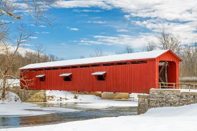 Snowy Red Covered Bridge-KennethKeifer-Photographic Print