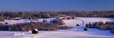 Snowy Rural Landscape Oestra Tavelsjoe Sweden--Photographic Print