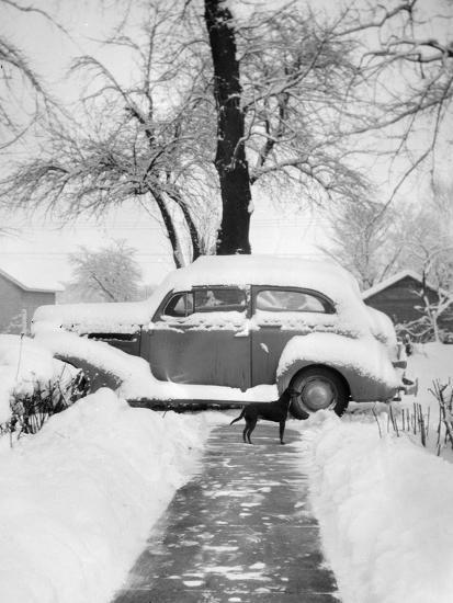 Snowy Scene in Illinois, Ca. 1940--Photographic Print