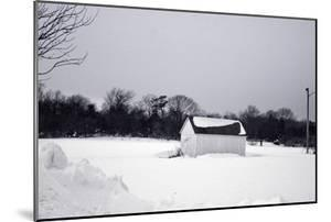 Snowy Scene in Sag Harbor NY b/w
