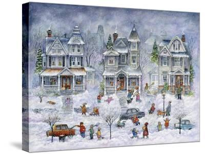 Snowy Streets-Bill Bell-Stretched Canvas Print