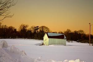 Snowy Sunset in Sag Harbor NY