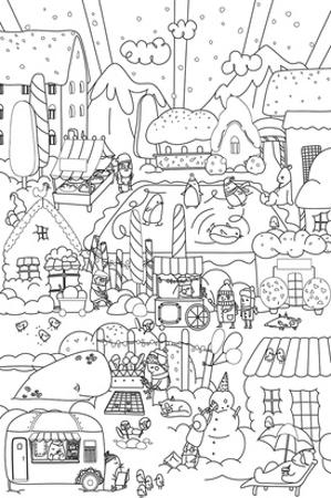 Snowy Town Kids Coloring Art