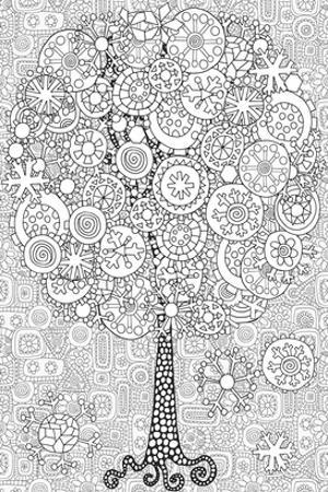 Snowy Tree Coloring Art