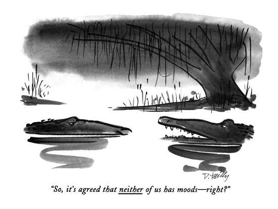 """""""So, it's agreed that neither of us has moods?right?"""" - New Yorker Cartoon-Donald Reilly-Premium Giclee Print"""