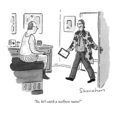 """So, let's catch a wellness wave!"" - New Yorker Cartoon-Danny Shanahan-Premium Giclee Print"