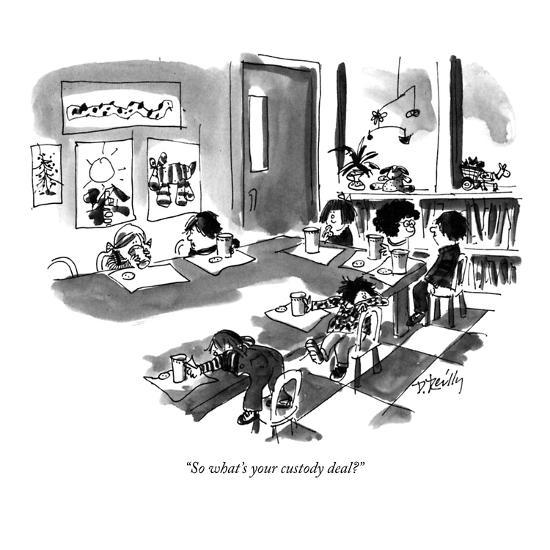 """""""So what's your custody deal?"""" - New Yorker Cartoon-Donald Reilly-Premium Giclee Print"""