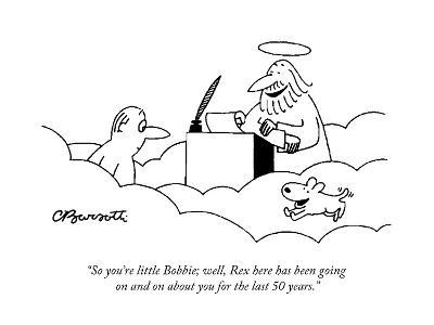 """""""So you're little Bobbie; well, Rex here has been going on and on about yo?"""" - Cartoon-Charles Barsotti-Premium Giclee Print"""