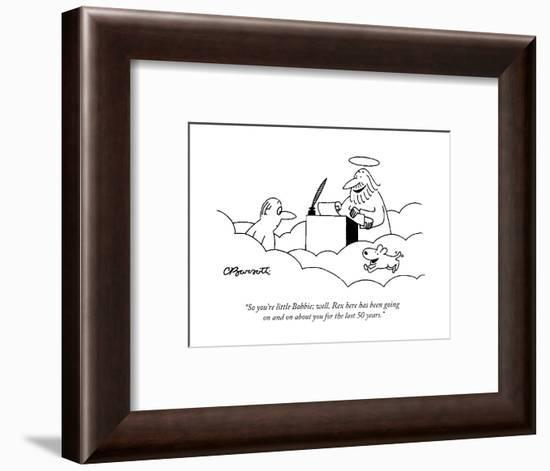 """""""So you're little Bobbie; well, Rex here has been going on and on about yo?"""" - Cartoon-Charles Barsotti-Framed Premium Giclee Print"""