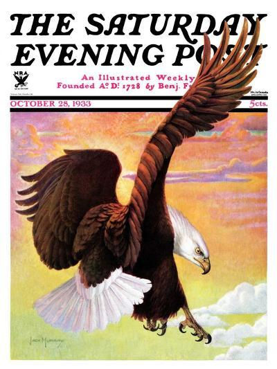 """""""Soaring Bald Eagle,"""" Saturday Evening Post Cover, October 28, 1933-Jack Murray-Giclee Print"""
