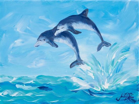 Soaring Dolphins I-Julie DeRice-Art Print