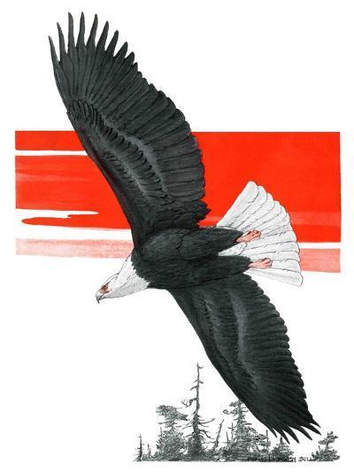 """Soaring Eagle,""March 22, 1924-Charles Bull-Giclee Print"