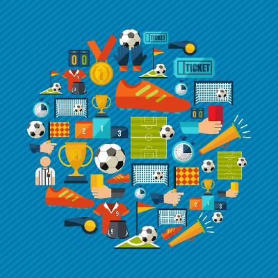Soccer Champions Icons Set Shape Circle Organized in Layers for Easy Editing-Cienpies Design-Art Print