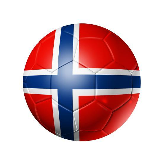 Soccer Football Ball With Norway Flag Art Print By Daboost Artcom