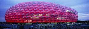 Soccer Stadium Lit Up at Dusk, Allianz Arena, Munich, Germany