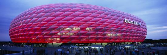 Soccer Stadium Lit Up at Dusk, Allianz Arena, Munich, Germany--Photographic Print