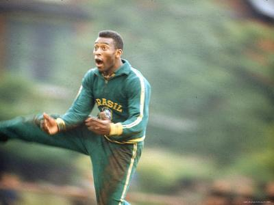 Soccer Star Pele in Action During Practice Prior to World Cup Competition-Art Rickerby-Premium Photographic Print