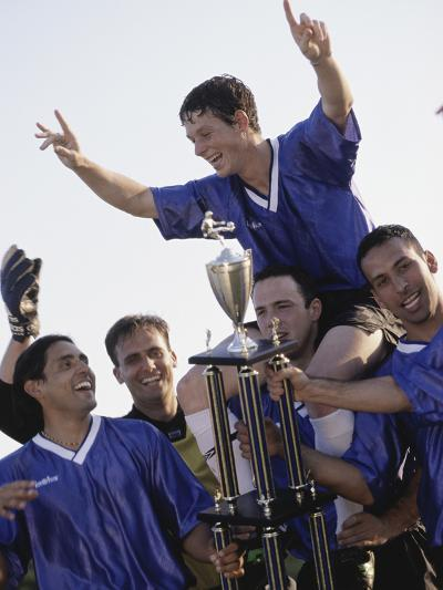 Soccer Team with Trophy--Photographic Print