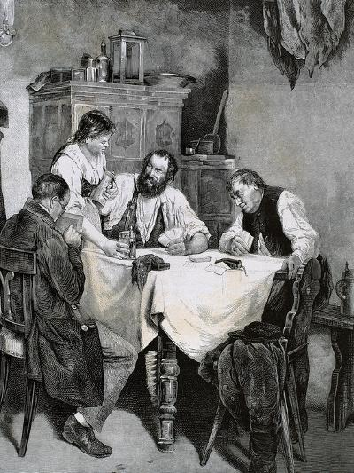Society, Working Family Playing Cards at Home. L. Rulf, 1887--Giclee Print