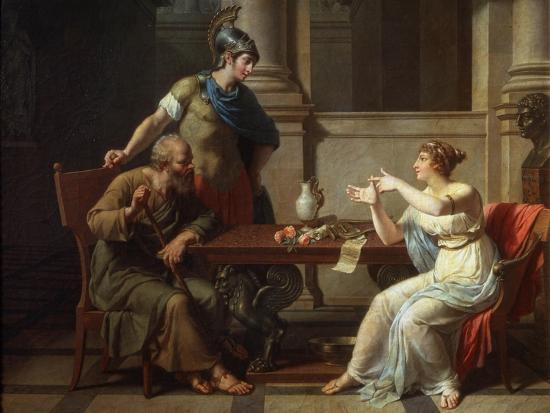 Socrates and Alcibiades at Aspasia, 1801-Nicolas Andre Monsiau-Giclee Print