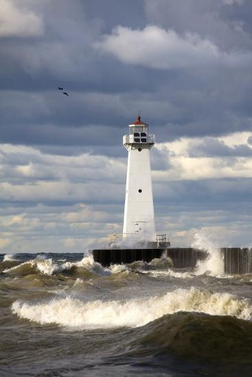 Sodus Outer Lighthouse on Stormy Lake Ontario; Sodus Point, New York, USA-Design Pics Inc-Photographic Print