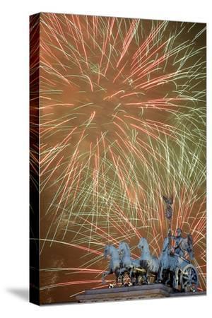 Fireworks Light the Sky Above the Brandenburger Tor (Brandenburg Gate) in Berlin, Germany
