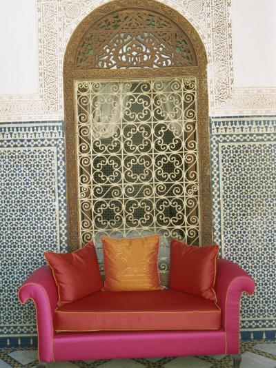 Sofa in Courtyard of Riad Enija, the Medina, Marrakech, Morocco, North Africa, Africa-Lee Frost-Photographic Print