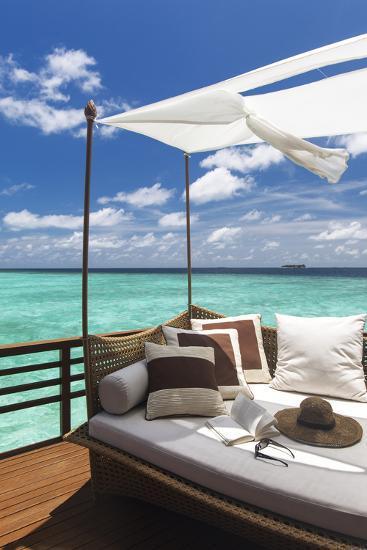 Sofa Overlooking Ocean, Maldives, Indian Ocean, Asia-Sakis Papadopoulos-Photographic Print