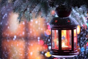 Christmas Lantern With Snowfall,Closeup by Sofiaworld