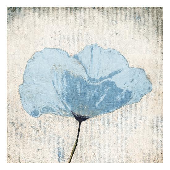 Soft Floral Blue-Jace Grey-Art Print