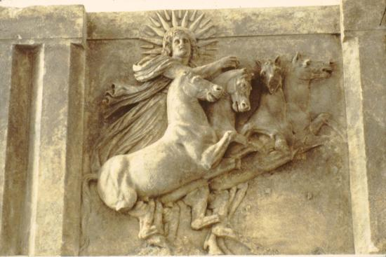 Sol. Roman Sun-God in his chariot, relief at Pergamon Museum, c400-370 BC-Unknown-Giclee Print