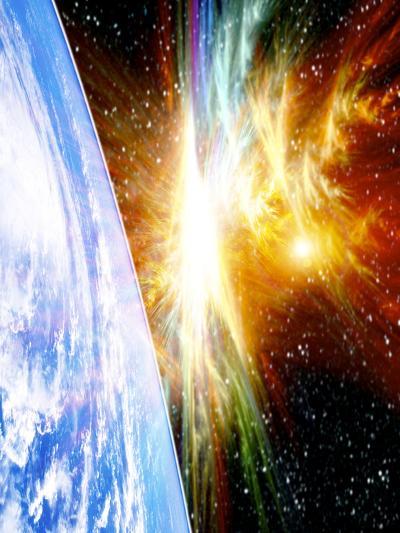Solar Flare Threatening Earth-Victor Habbick-Photographic Print
