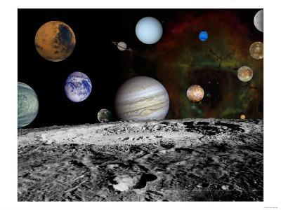 Solar System Montage of Voyager Images Photograph - Outer Space-Lantern Press-Art Print