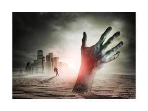 Zombie Rising. A Hand Rising From The Ground! by Solarseven