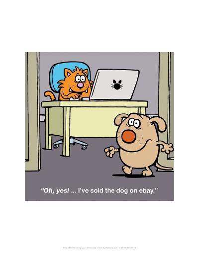 Sold the Dog on Ebay - Antony Smith Learn To Speak Cat Cartoon Print-Antony Smith-Art Print