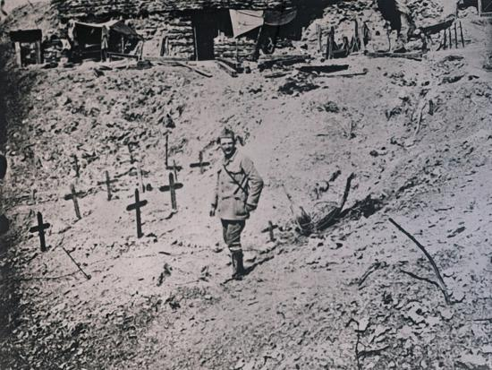 Soldier among wooden crosses, c1914-c1918-Unknown-Photographic Print