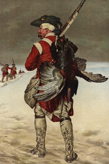 Soldier Carrying a Turkey--Giclee Print