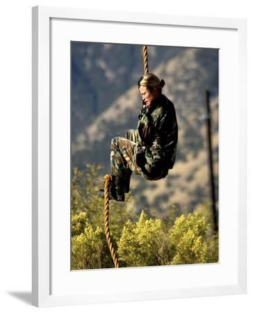Soldier Climbs Down the Back Rope On a Training Obstacle-Stocktrek Images-Framed Photographic Print